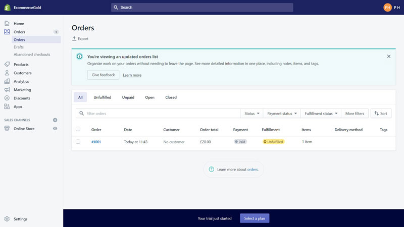 Shopify Manage Orders