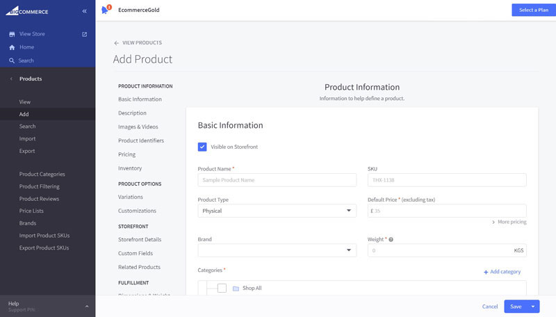 Bigcommerce Add New Product