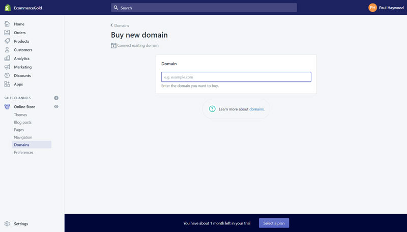 Shopify Buy Domain