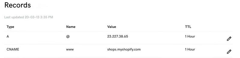 Shopify Domain Settings