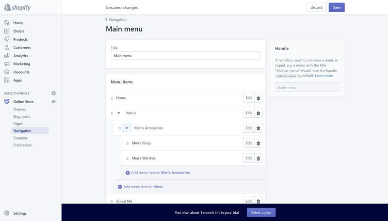 Shopify Navigation Menu