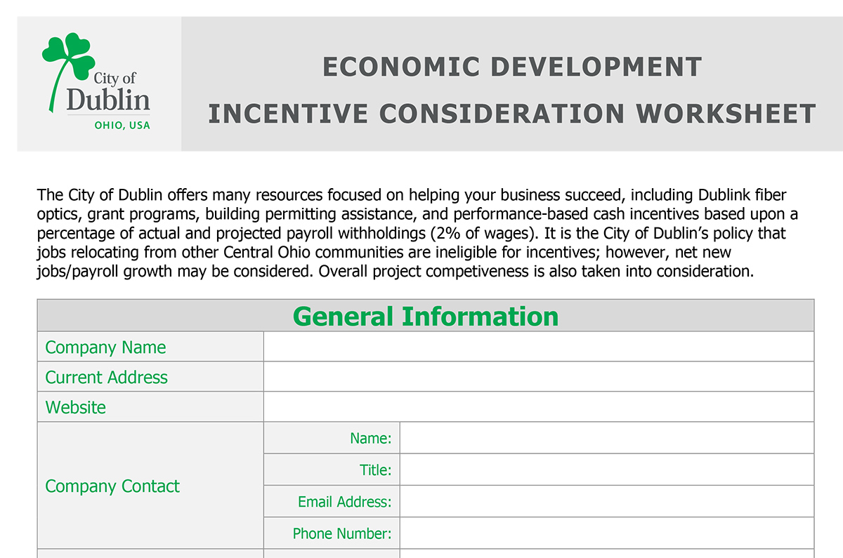 Business Contact Worksheet