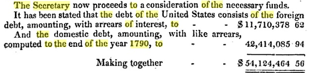 The beginning of the U.S. federal debt.