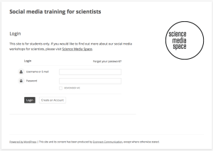 Social media and Web 2.0 training for scientists