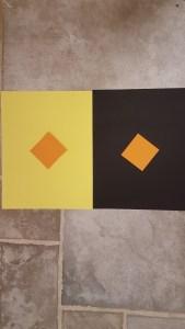 Orange diamonds on black and yellow backgrounds,