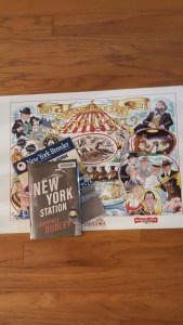 Book cover of New York Station and poster of Saratoga racetrack.