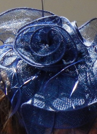Blue Fascinator with flowers and netting