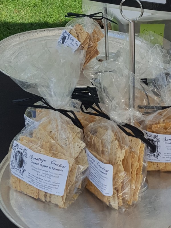 Bags of homemade crackers.