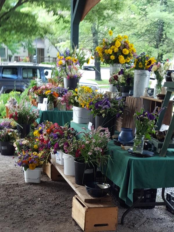 Stall selling fresh flowers