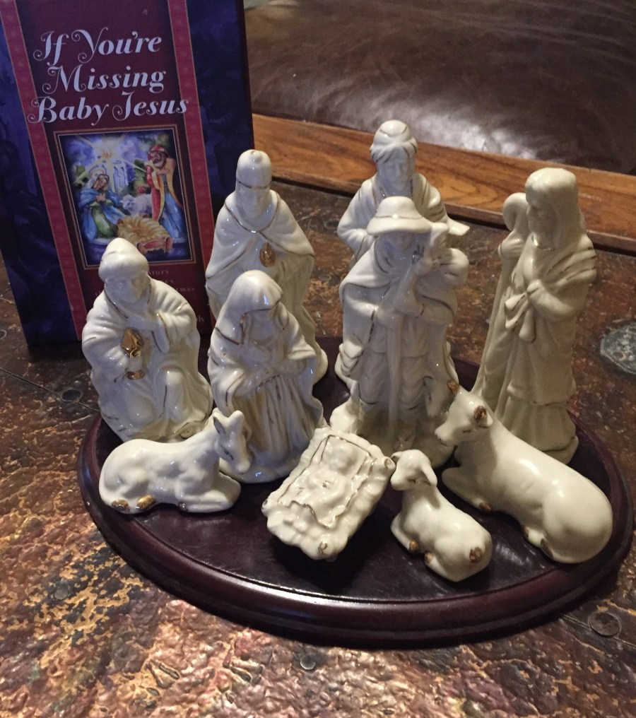 Nativity Set with copy of If You're Missing Baby Jesus