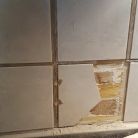 Close up of tile demolition