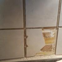 Close up of tile demolition