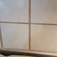 Drop Cloth underneath tile