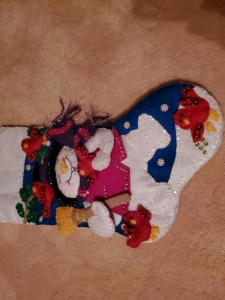 Applique Snowman and cardinals on felt stocking