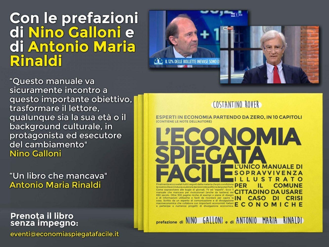 Nino Galloni e Antonio Maria Rinaldi firmano la prefazione al libro di Economia Spiegata Facile