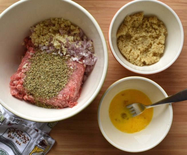 Grass Fed Beef and Quinoa Meatballs Ingredients