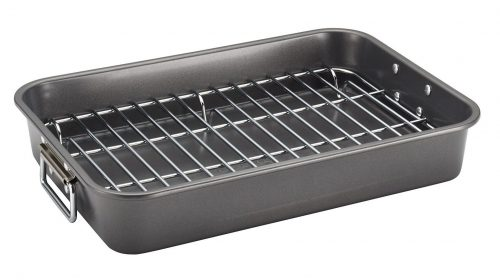 2. Farberware Nonstick Bakeware 11-Inch x 15-Inch Roaster with Flat Rack, Gray