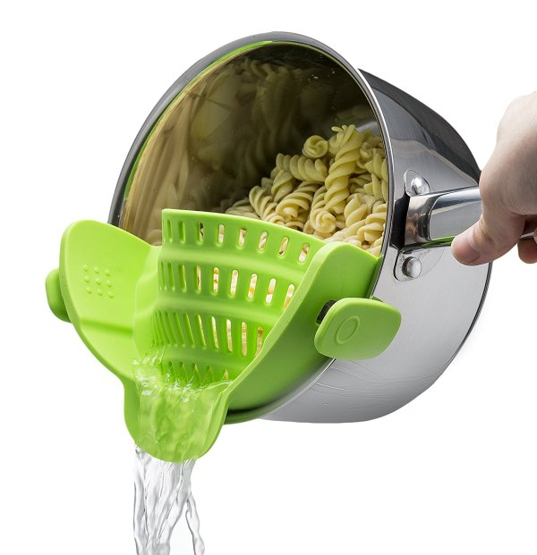 8. Kitchen Gizmo Snap 'N Strain Strainer, Clip On Silicone Colander, Fits all Pots and Bowls - Lime Green