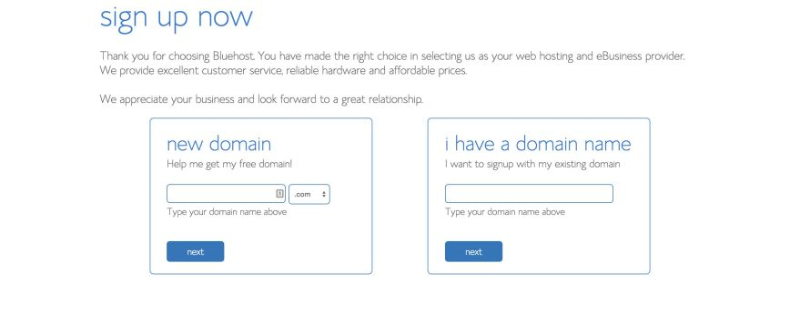 Bluehost Domains page