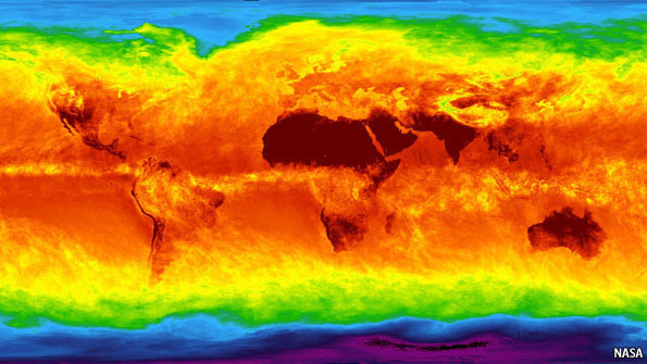 The Atmospheric Infrared Sounder (AIRS) instrument aboard NASA's Aqua satellite senses temperature using infrared wavelengths. The image shows temperature of the Earth's surface or clouds covering it for the month of April 2003. The scale ranges from -81 degrees Celsius (-114° Fahrenheit) in black/blue to 47° C (116° F) in red. The Intertropical Convergence Zone, an equatorial region of persistent thunderstorms and high, cold clouds is depicted in yellow. Higher latitudes are increasingly obscured by clouds, though some features like the Great Lakes are apparent. Northernmost Europe and Eurasia are completely obscured by clouds, while Antarctica stands out cold and clear at the bottom of the image
