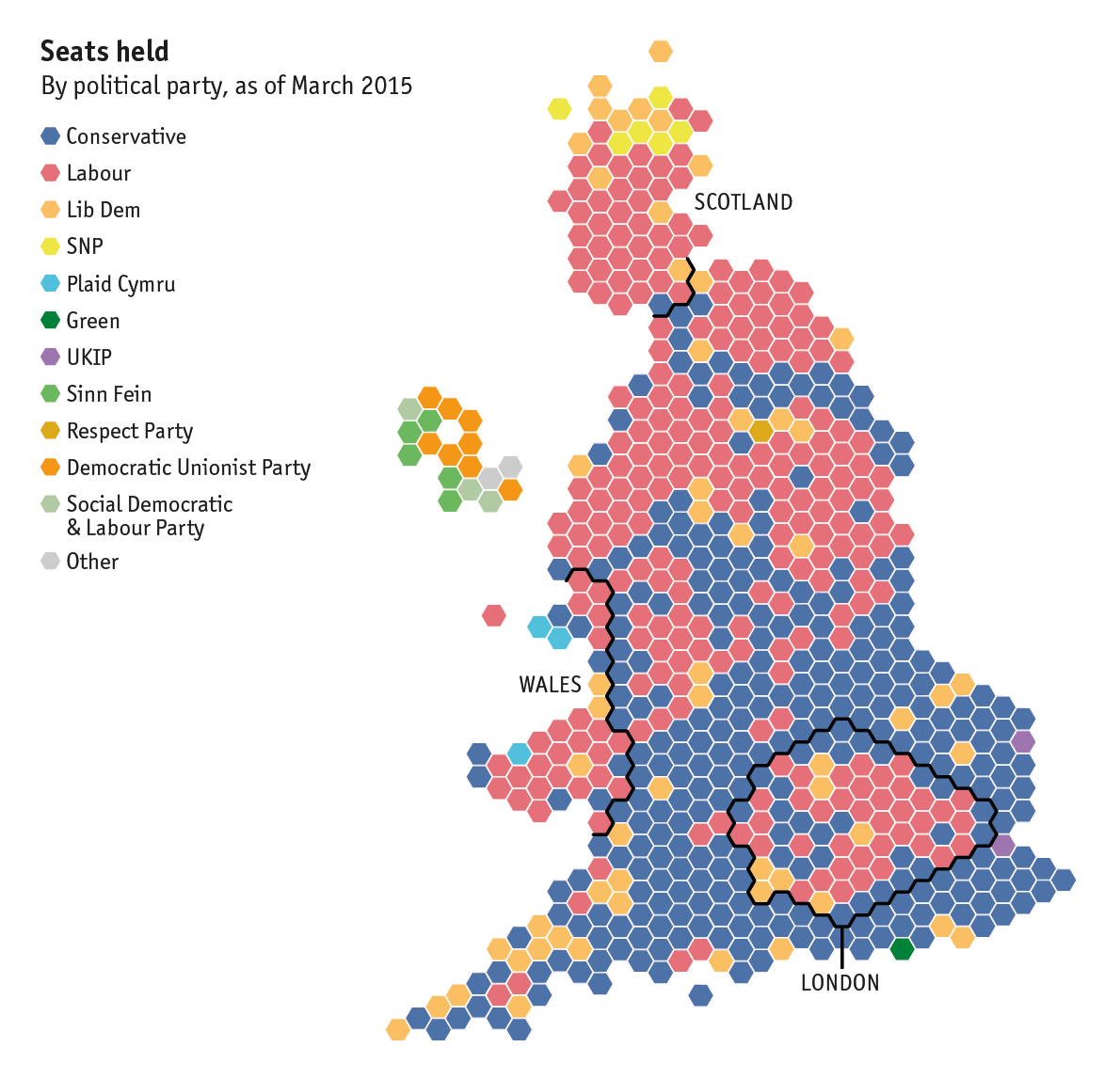 UK general election 2015 map of Britain Constituency