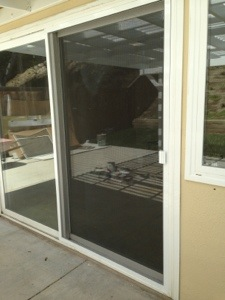 Installation of a 36 white sliding screen door in simi for Sliding screen door installation
