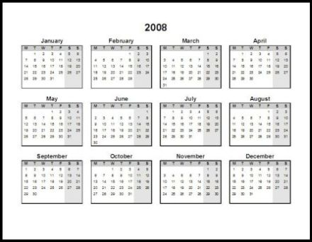 Calendar Template 2013: Printable Yearly Planning