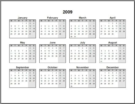 Print 2009 Calendar : Single Page (Annual) : Ask the