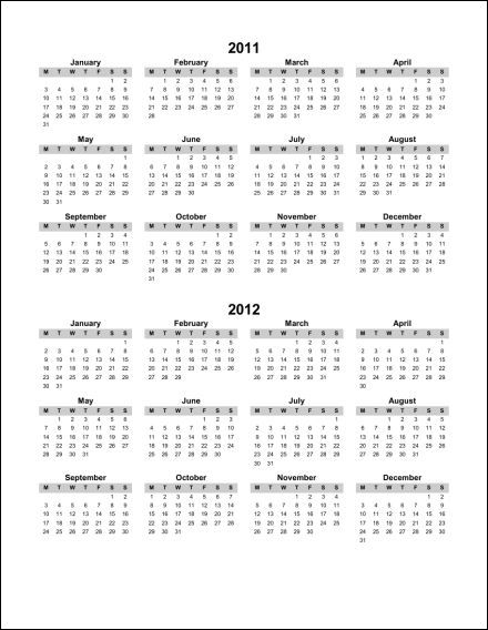 Print 2011 Calendar : Single Page (Annual) : Ask the