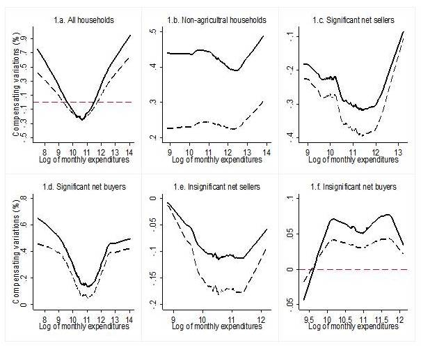 Figures by Adamon Mukasa. Non-parametric relationship between compensating variations (2005/6-2009/10) and monthly household expenditures using locally weighted scatterplot smoother (LOWESS). The solid curves represent first-order effects and the dotted curves display the welfare effects accounting for substitution across commodities. Negative (positive) values imply welfare gains (losses) due to food price shocks.