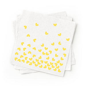 Recycled Yellow Patterned Cocktail Napkins Pack of 200