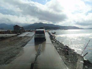 河口から10キロもさかのぼった場所で北上川の堤防が決壊し、多くの死者を出しました。その決壊現場。