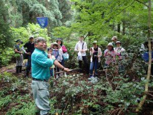 大明神保全地域を清水集落の方に案内してもらい、生き物や大明神の歴史について学びました