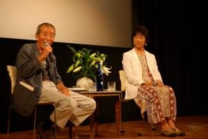 上映後、高野孝子と対談する龍村仁監督。70歳とは思えぬ元気さでした。