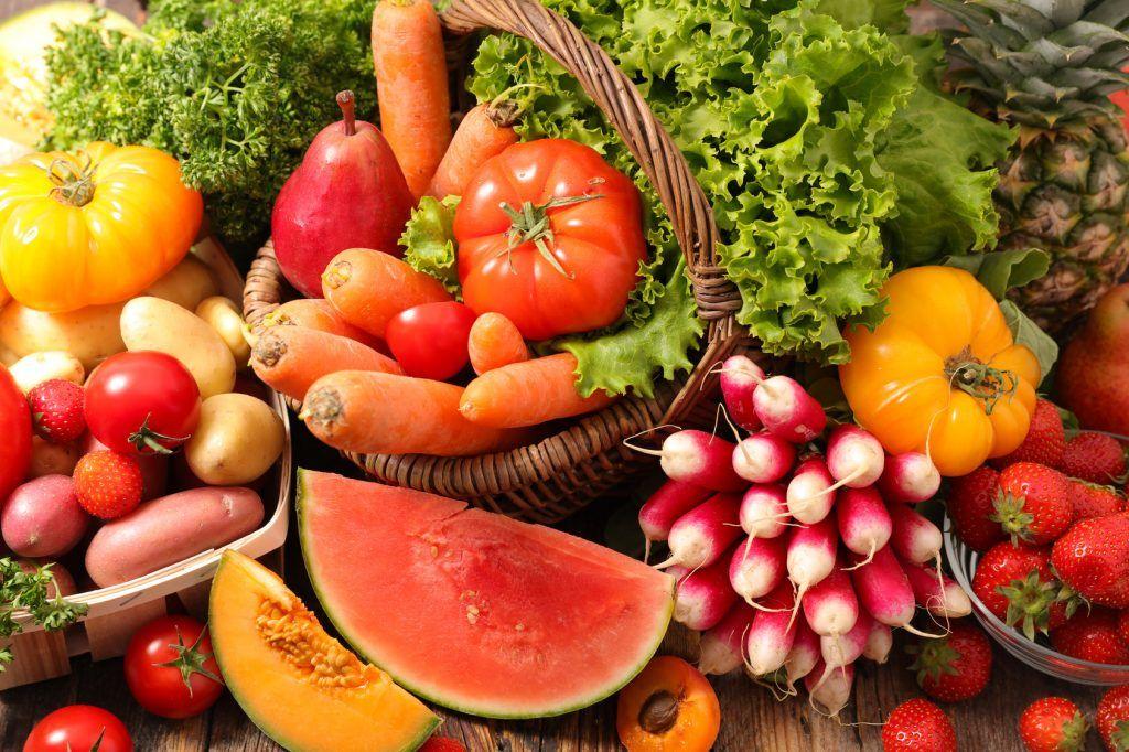 frutas, verduras, hortalizas, granos, azúcar, proteína, dieta