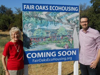 Marty Maskall, Project Manager, and Brandon Rose, ECOS president, at the Fair Oaks EcoHousing site