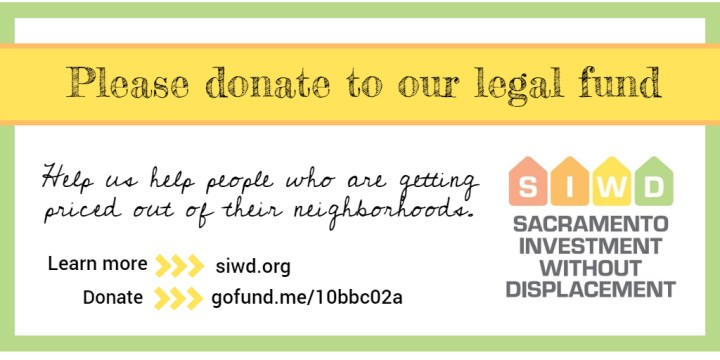Please support Sacramento Investment Without Displacement by contributing to our legal fund!