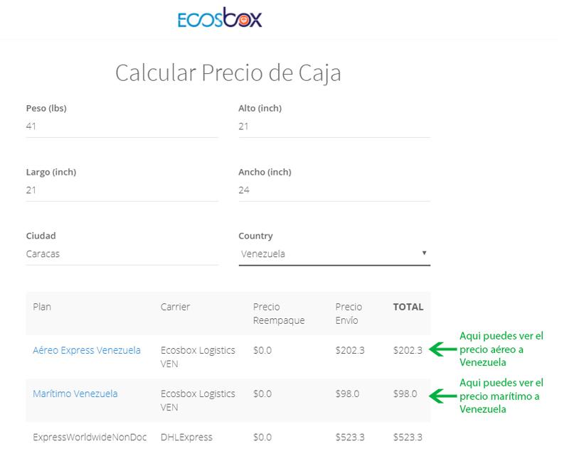 Cómo se calcula el precio de un envío a Venezuela