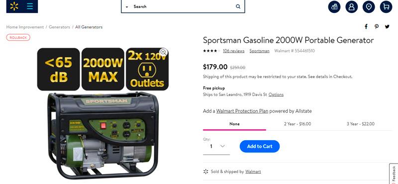 Generador portátil Sportsman 2000W rebajado de $259 a $179
