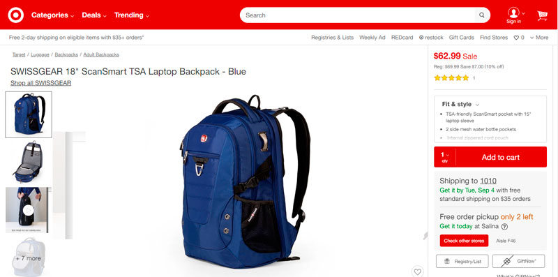 "SWISSGEAR 18"" ScanSmart TSA Laptop Backpack – Blue por $62.99"