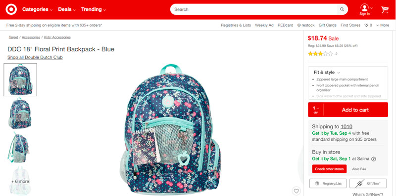 "DDC 18"" Floral Print Backpack – Blue por sólo $18.74"
