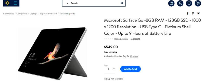 Surface Go en Walmart por $549