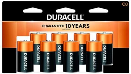 Pilas alcalinas Duracell Plus, tamaño C, 1.5 V DC, paquete de 8 pilas