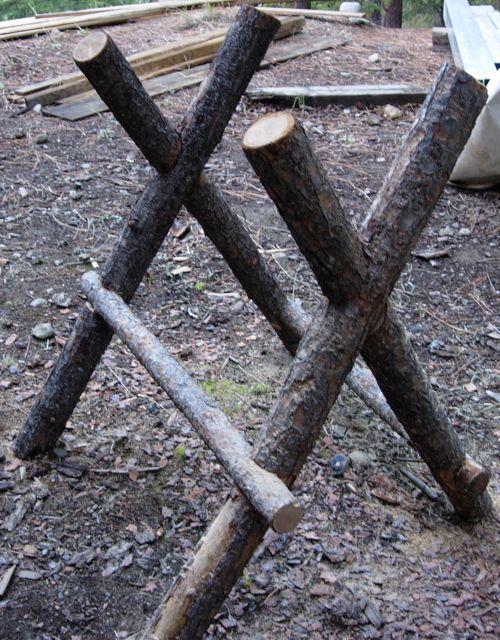 Making A Log Sawhorse  Eco Snippets