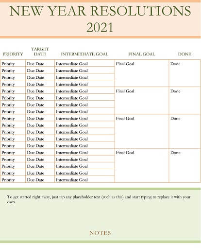 New Year's resolution planner