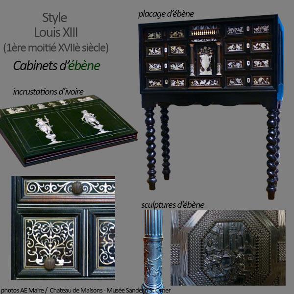 mobilier Louis 13 cabinet ebene