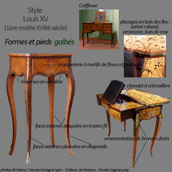 mobilier Louis 15 formes et pieds galbés