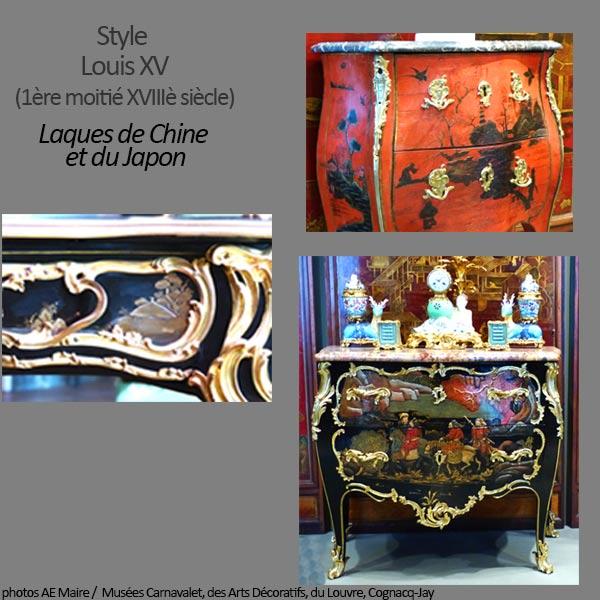 mobilier Louis 15 laques chine japon