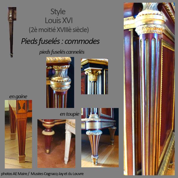mobilier Louis XVI pieds fuselés commodes ecoutelebois