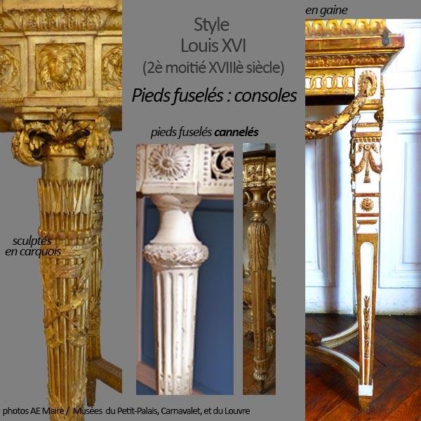 mobilier Louis XVI pieds fuselés consoles ecoutelebois